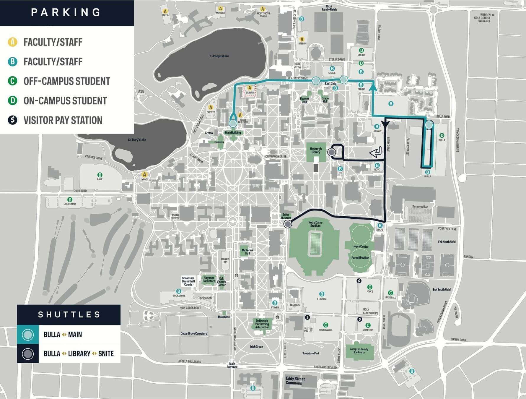 Map Of Notre Dame Campus Parking and Shuttle Maps | Parking & Traffic | Notre Dame Police