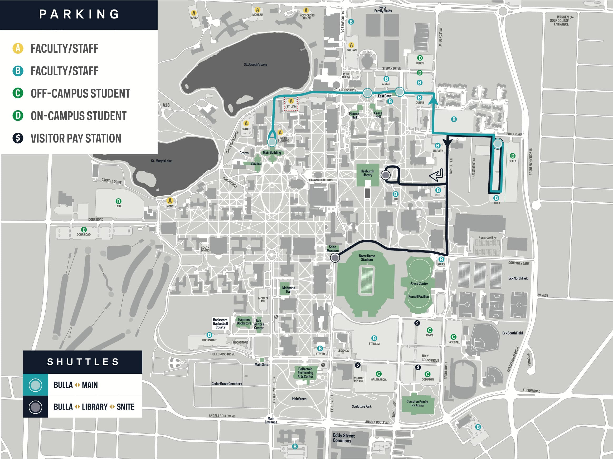 Notre Dame Parking Map Parking and Shuttle Maps | Parking & Traffic | Notre Dame Police